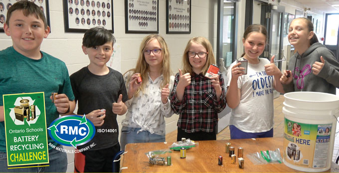 Students participating in the Ontario Schools Battery Recycling Challenge pose for a photo. The OSBRC started on the first day of Waste Reduction Week and runs until Earth Day.