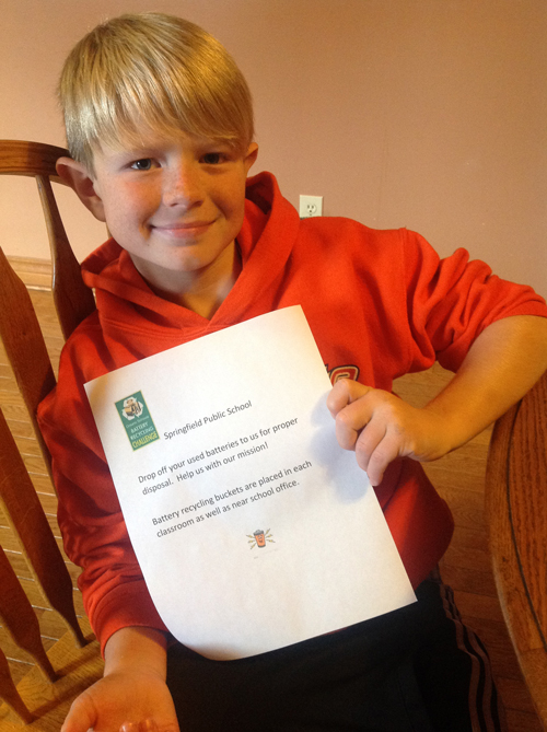 Brandon completes Mission 1 in the Ontario Schools Battery Recycling Challenge