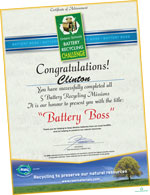Picture of Clinton's Battery Boss certificate.