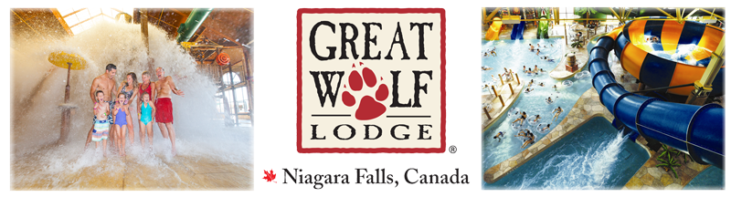 A series of three images of Great Wolf Lodge in Niagara Falls Ontario. In one picture a family is splashed by water. In another image, there's a waterslide. The third image is Great Wolf Lodge's logo