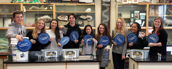 Students from Harbord Collegiate Institute's Eco-team pose for a picture during the Ontario Schools Battery Recycling Challenge