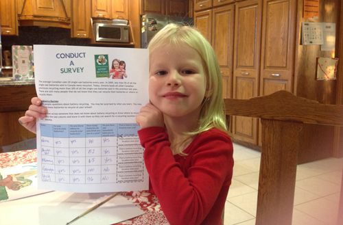 Lily completes Mission 5 in the Ontario Schools Battery Recycling Challenge