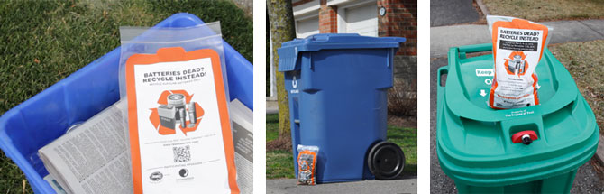 A picture showing various setout methods for battery recycling bags in Ontario.