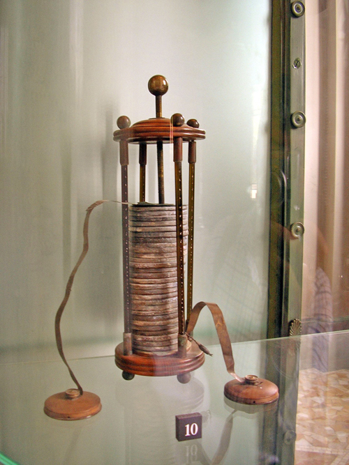 the Voltaic Pile, the first battery invented by Alessandro Volta in 1799