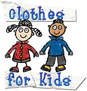 Clothes for Kids Kingston Logo of two kids holding hands with warm coats on