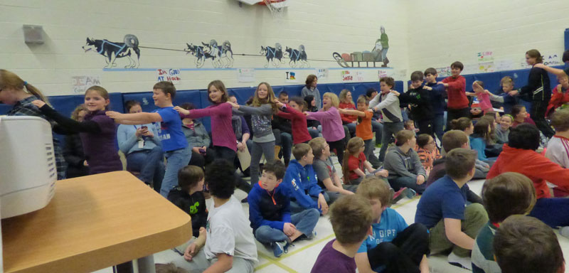 Hillsdale Elementary School students form a Battery Congo Line!