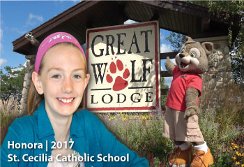 In 2017, Honora from St. Cecilia Catholic School pictured here, was the winner of the OSBRC Great Wolf Lodge Family Day prize draw.