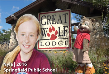 In 2016, Nyla from Springfield Public School pictured here, was the winner of the OSBRC Great Wolf Lodge Family Day prize draw.