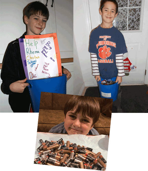 Rhema students make battery recycling posters and send recycling containers to work with their parents to recycle more batteries.